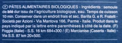 Pâtes Fusilli biologiques - Informations nutritionnelles