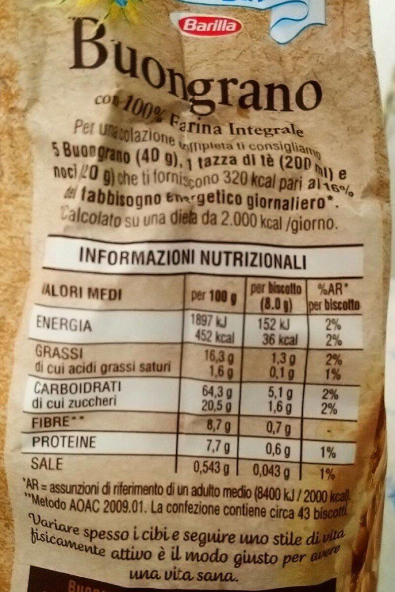 Buongrano Integrale - Informazioni nutrizionali - it