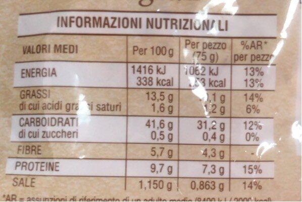 Mulino B. piadella Integrale GR. 225 - Informations nutritionnelles - fr