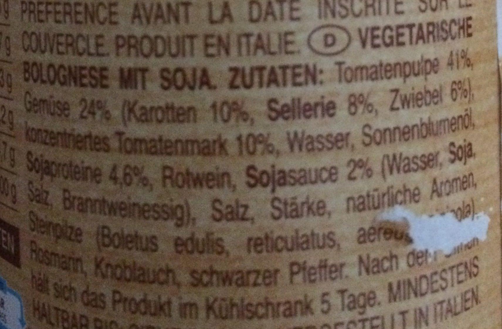 Sauce bolognaise au soja Vegan - Inhaltsstoffe