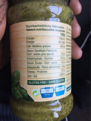 Pesto au basilic Vegan - Nährwertangaben