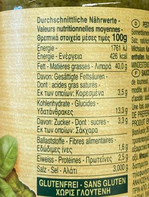 Pesto au basilic Vegan - Nährwertangaben - fr