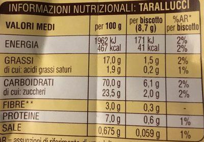 Tarallucci Mulino Bianco - Voedingswaarden - fr