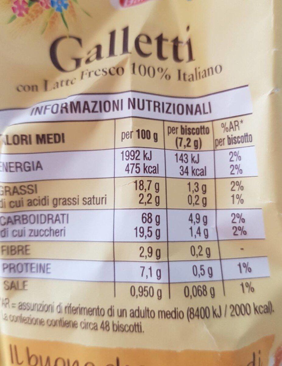 Galletti - Nutrition facts - sr
