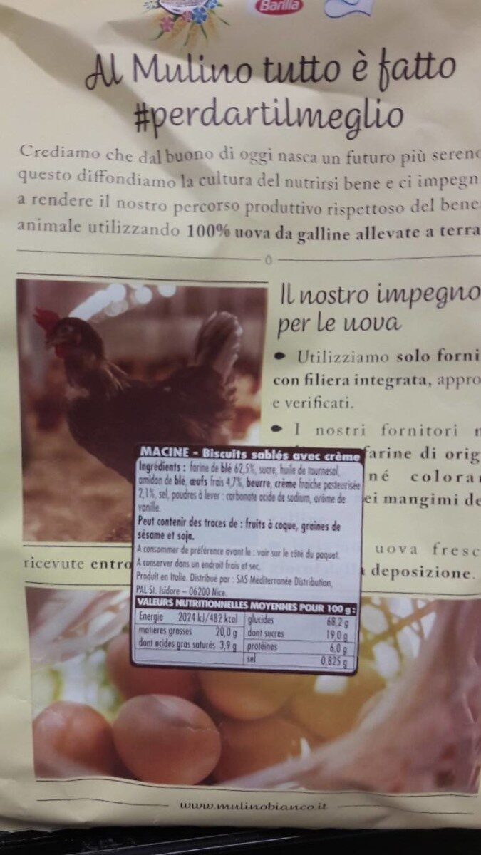 Macine con Panna Fresca - Información nutricional