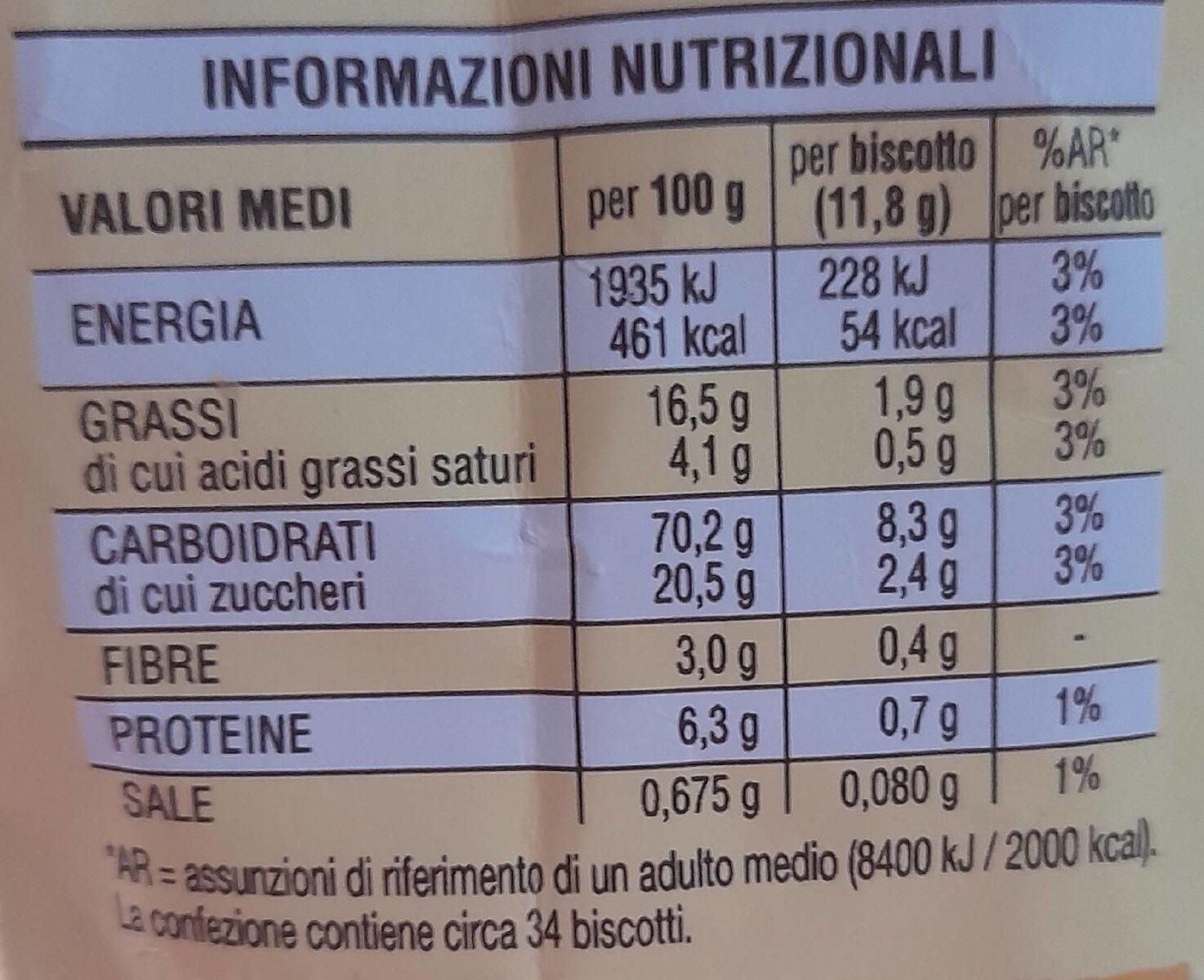 Spicchi di sole dorati al forno - Informations nutritionnelles - fr