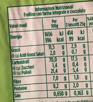 Frollini con farina integrale e cioccolato - Voedingswaarden
