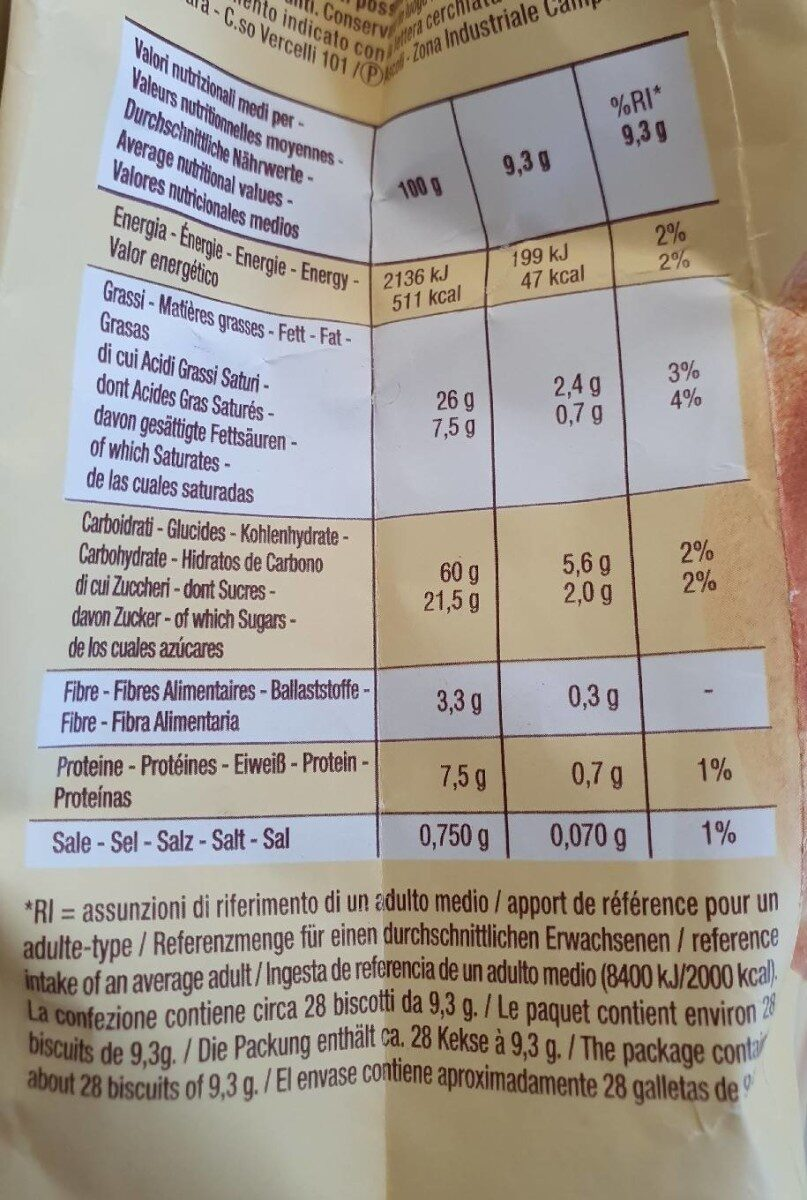 Baiocchi - Valori nutrizionali - it