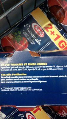 Lot 3 sauces provençale - Ingrédients