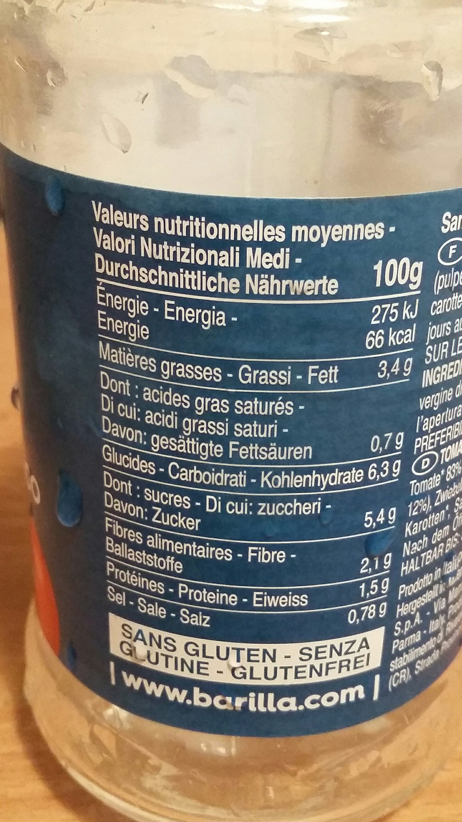 Barilla sauce tomates basilic bio - Valori nutrizionali - fr
