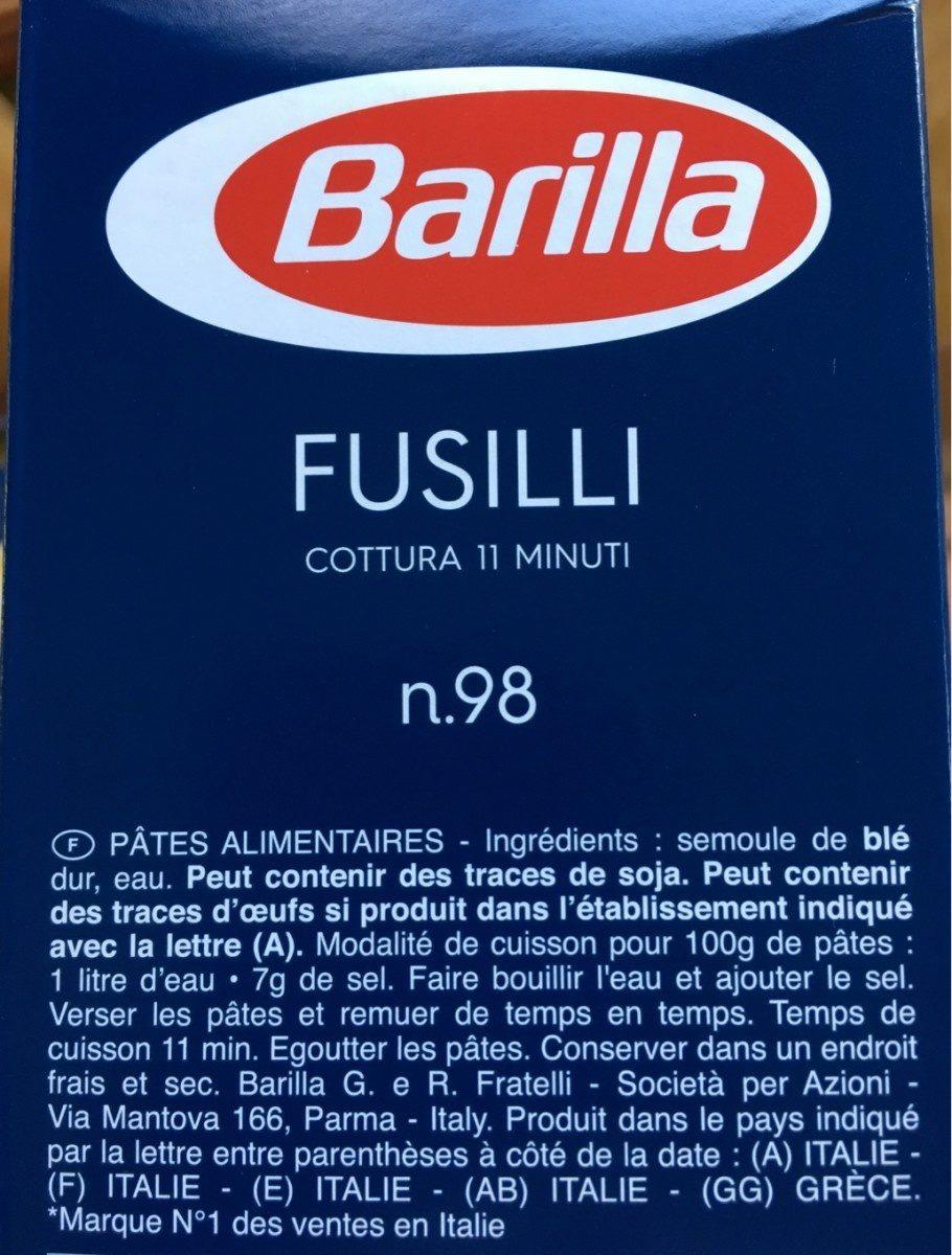 Lot pâtes Fusilli x3 - Ingrédients - fr