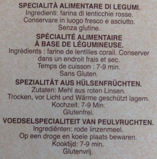 Barilla pâtes fusilli de lentilles corail - Ingredients - fr