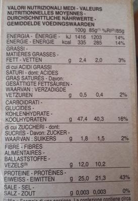 Barilla pâtes fusilli de lentilles corail - Nährwertangaben - fr