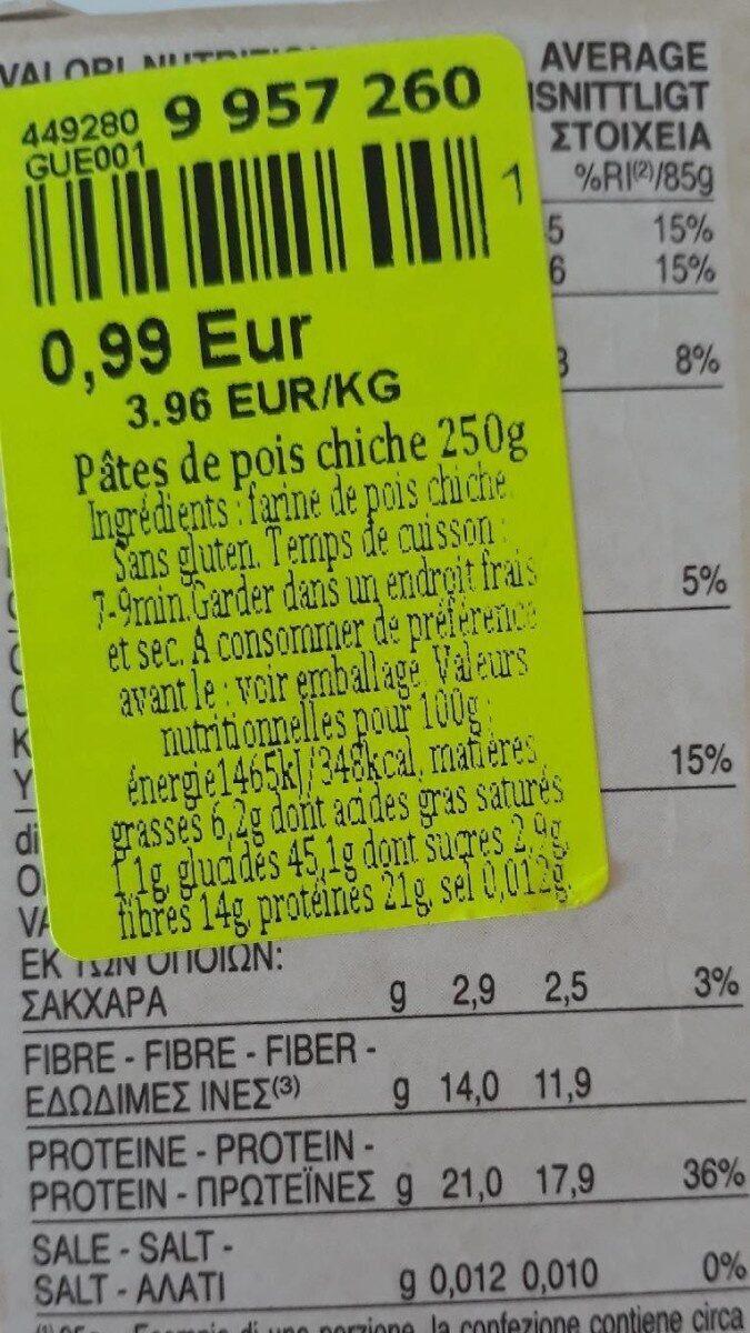 caserecce di ceci - Informations nutritionnelles - fr