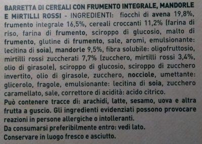 Barrette di cereali mandorle e mirtilli rossi - Ingrediënten