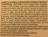 Barrette di cereali nocciole e cioccolato fondente - Ingrediënten