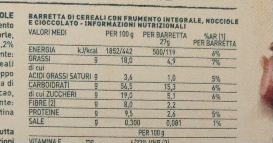 Barre de céréales - noisette et chocolat fondant - Voedingswaarden - it