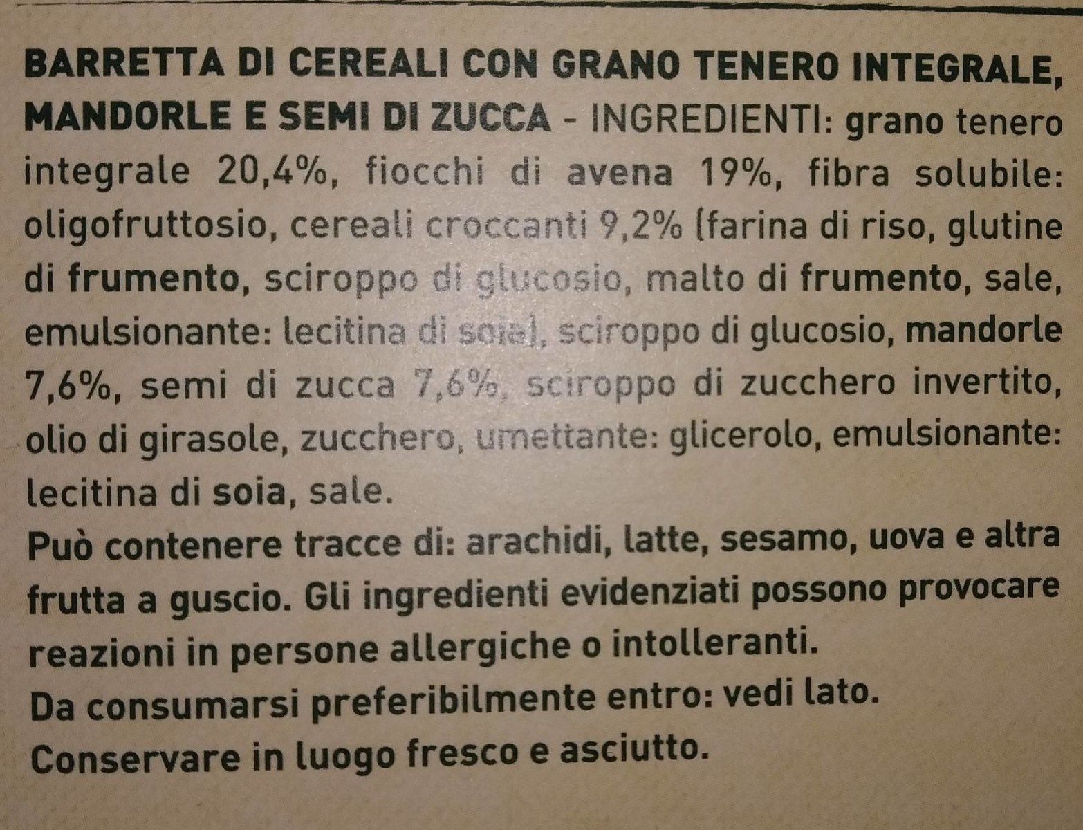 5 barrette di cereali grano, mandorle e semi di zucca - Ingrediënten - it