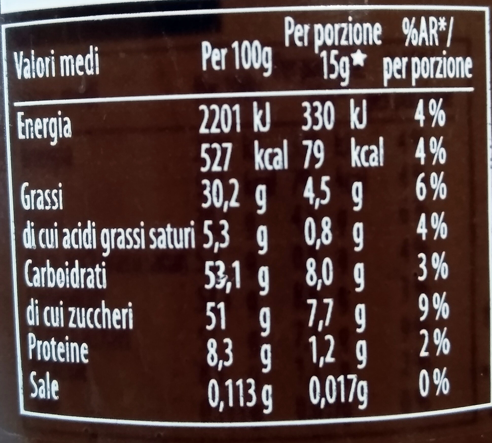 Pan di stelle crema - Nutrition facts