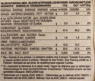 Spaghetti de lentilles corail - Informations nutritionnelles - fr