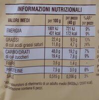 Nastrine cioccolato - Informazioni nutrizionali - fr