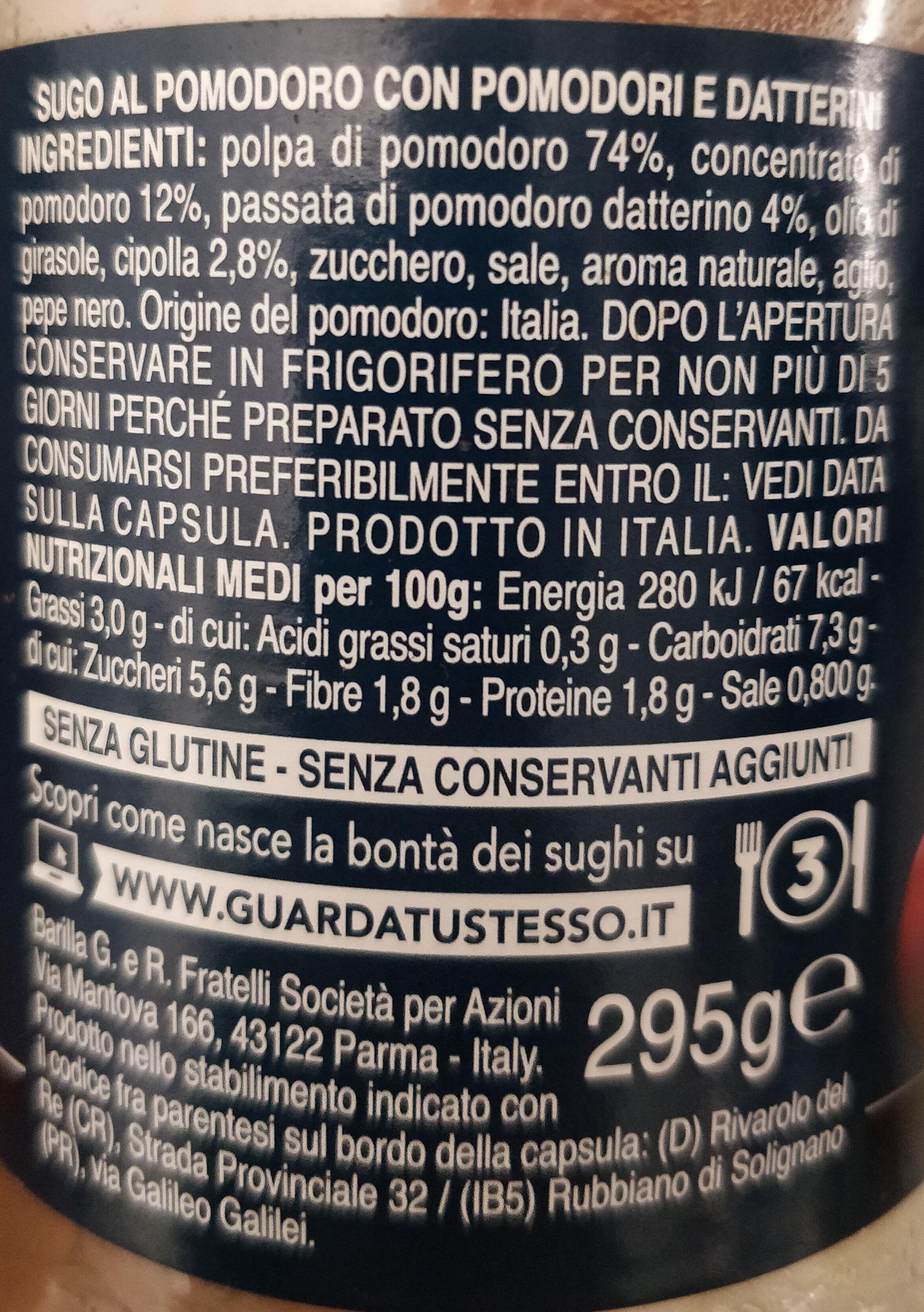 Pomodoro e datterini - Nutrition facts - it