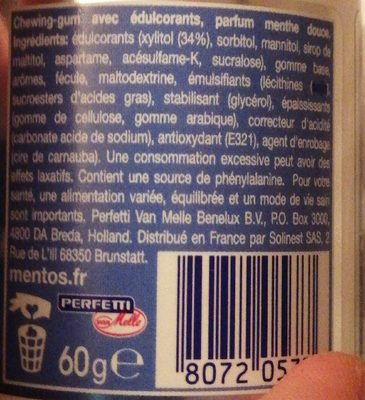 Mentos insta white - Ingredienti - fr