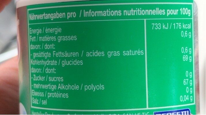 White (Green mint) - Informations nutritionnelles - fr