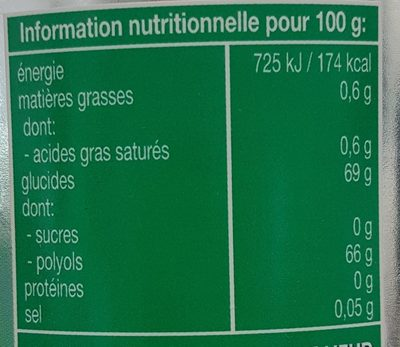 Chewing-gum Mentos White Menthe Verte - Valori nutrizionali - fr