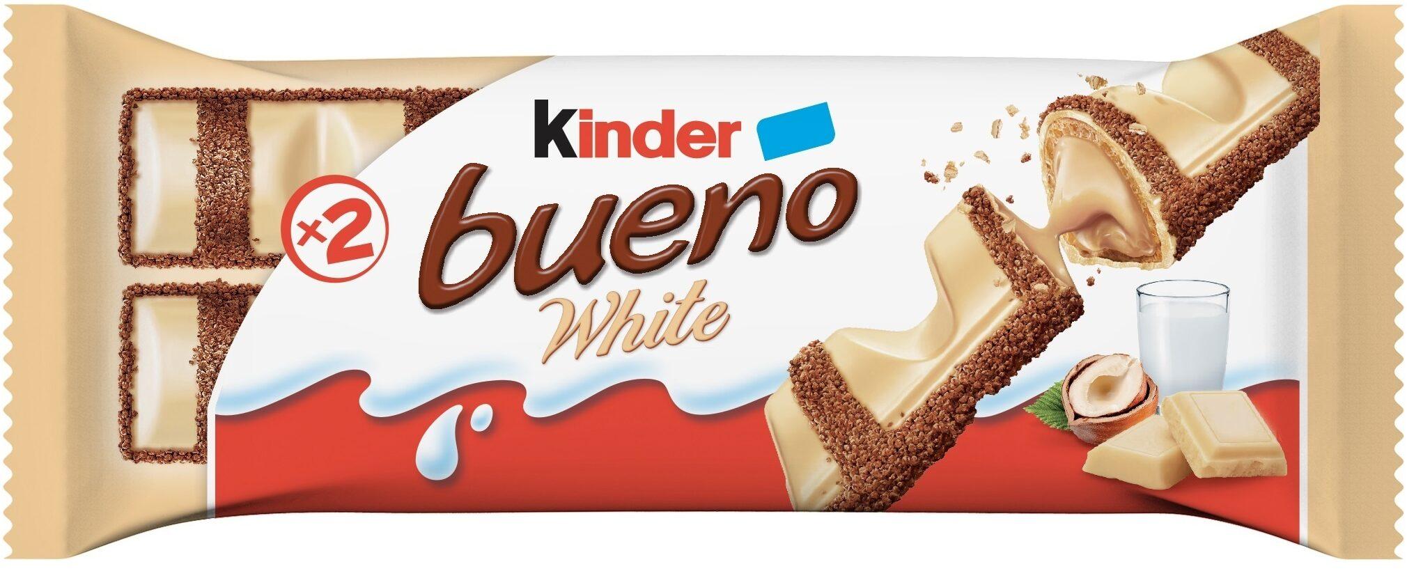 Kinder bueno white gaufrettes enrobees de chocolat blanc x2 barres - Product - fr