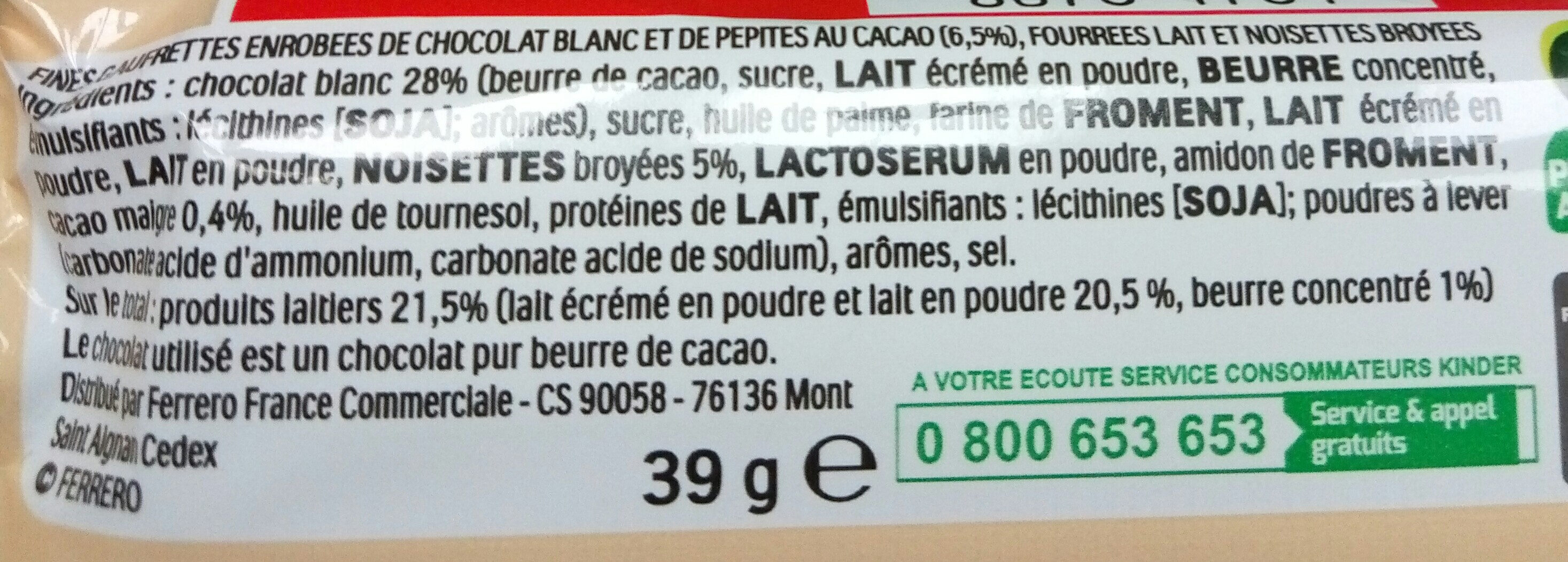 Kinder bueno white gaufrettes enrobees de chocolat blanc x2 barres - Ingredienti - fr