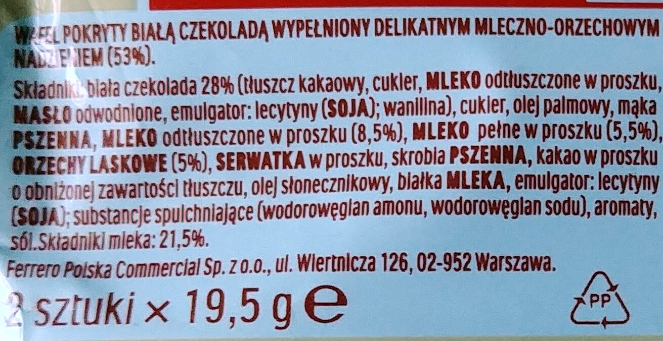 Kinder Bueno white - Składniki - pl