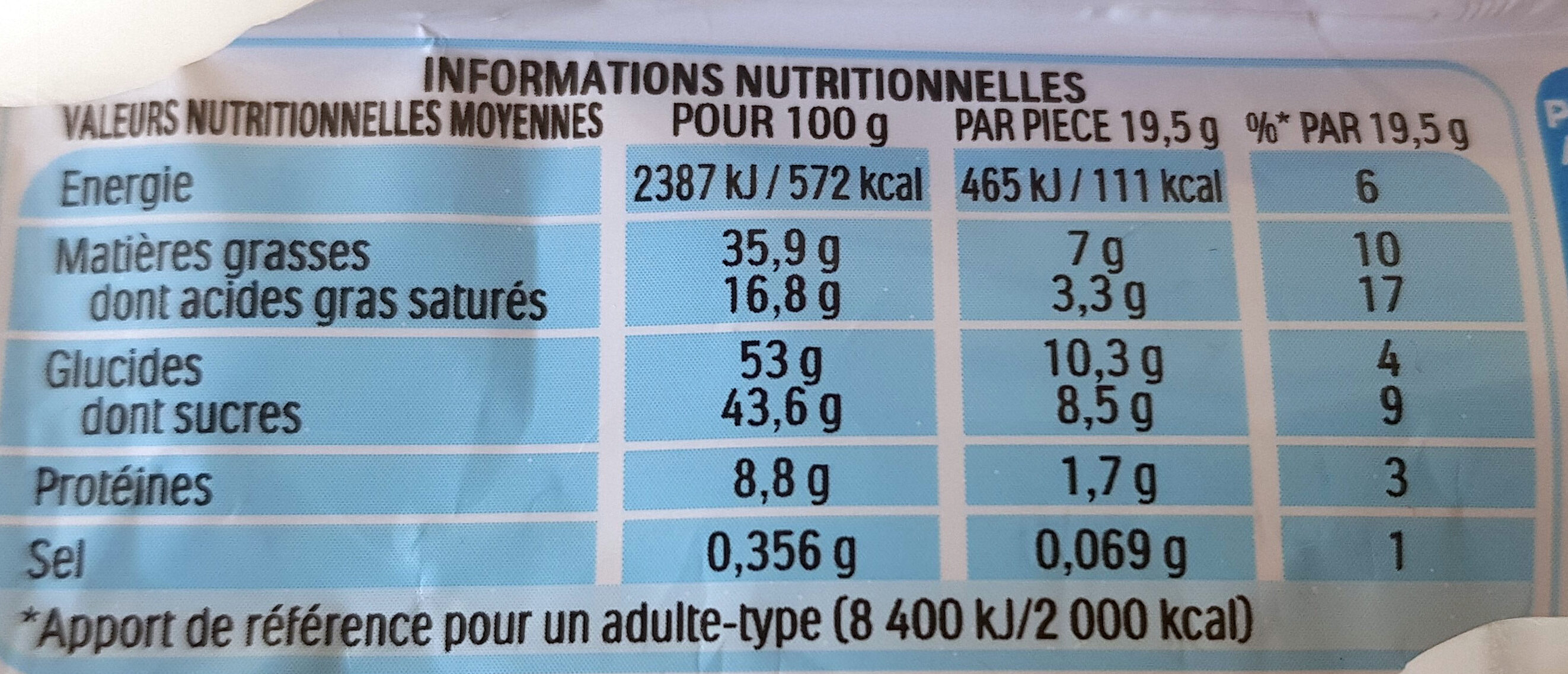 Kinder Bueno white - Informations nutritionnelles - fr