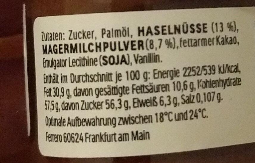 Nutella Mini - Informazioni nutrizionali - fr