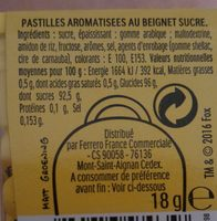 Pastilles aromatisées au beignet sucré - Ingrediënten - fr