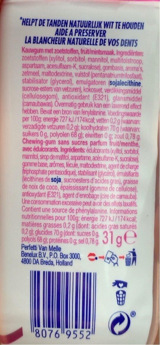 Mentos white - Informations nutritionnelles - fr