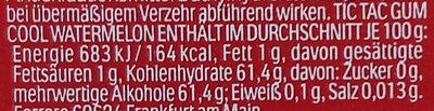 Tic Tac Gum Cool Watermelon (Zuckerfrei) - Valori nutrizionali - de