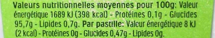 Tic Tac Pommes - Informations nutritionnelles