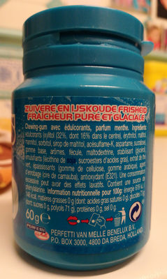 Mentos Gum Bottle Ice Crush Ice Mint X6 - Informations nutritionnelles