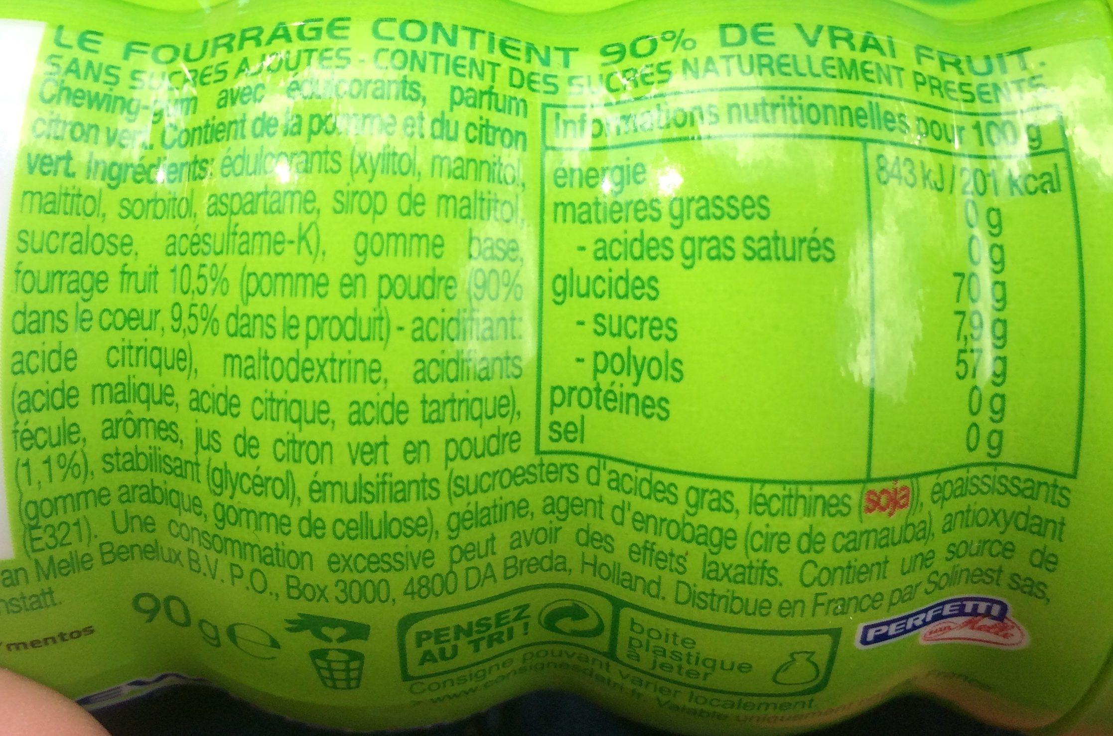 Chewing gum mentos squeez parfum citron vert 90 g e 45 - Acide citrique leclerc ...