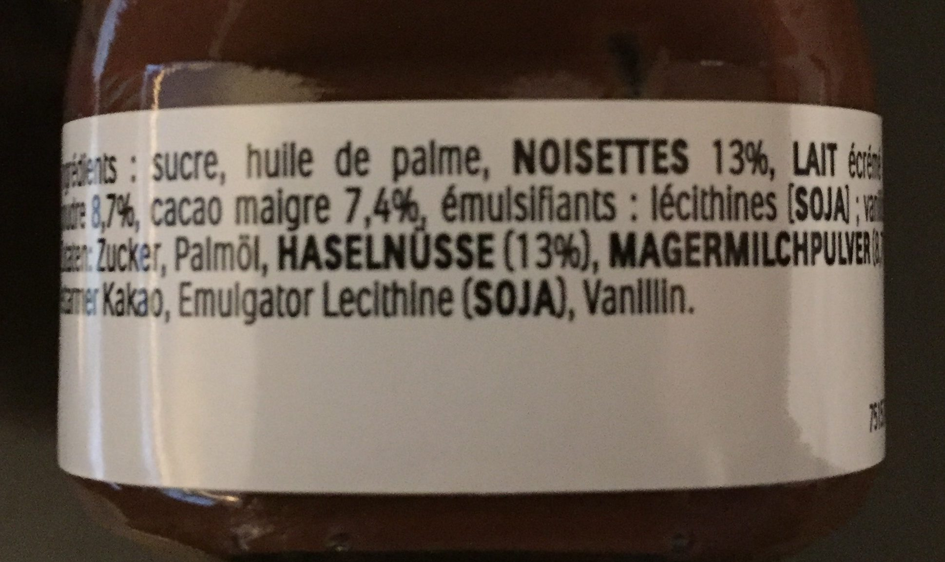 Mini Nutella - Informations nutritionnelles - fr
