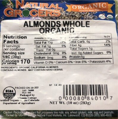 Almonds Whole Organic - Product - en