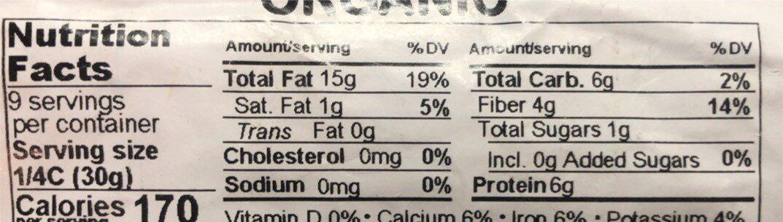 Almonds Whole Organic - Nutrition facts - en