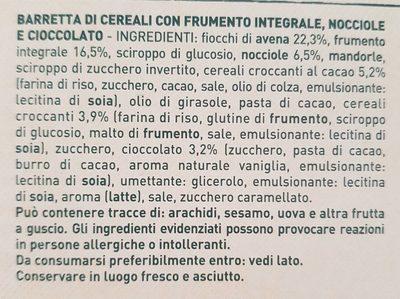 5 barrette di cereali, Nocciole e cioccolato fondente - Ingrediënten - it