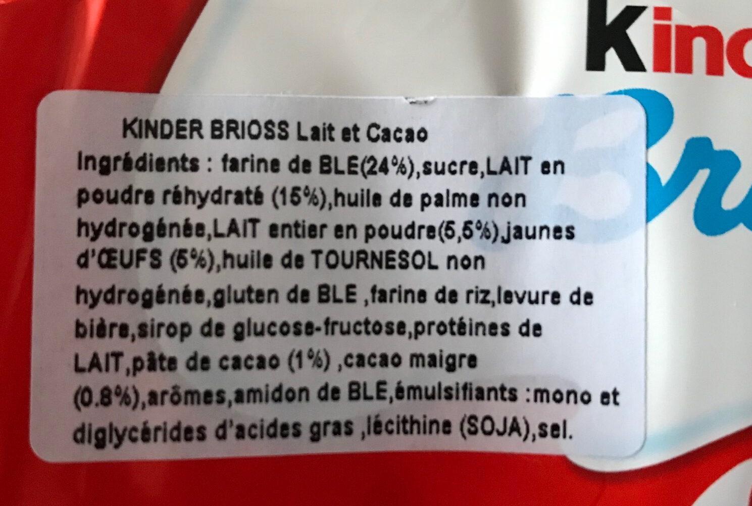 Kinder Brioss - Ingredients - fr