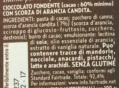 Cioccolato fondente 60% con Scorze d'Arancia - Ingredienti