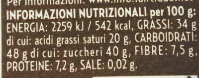 Cioccolato fondente 60% con Scorze d'Arancia - Informazioni nutrizionali