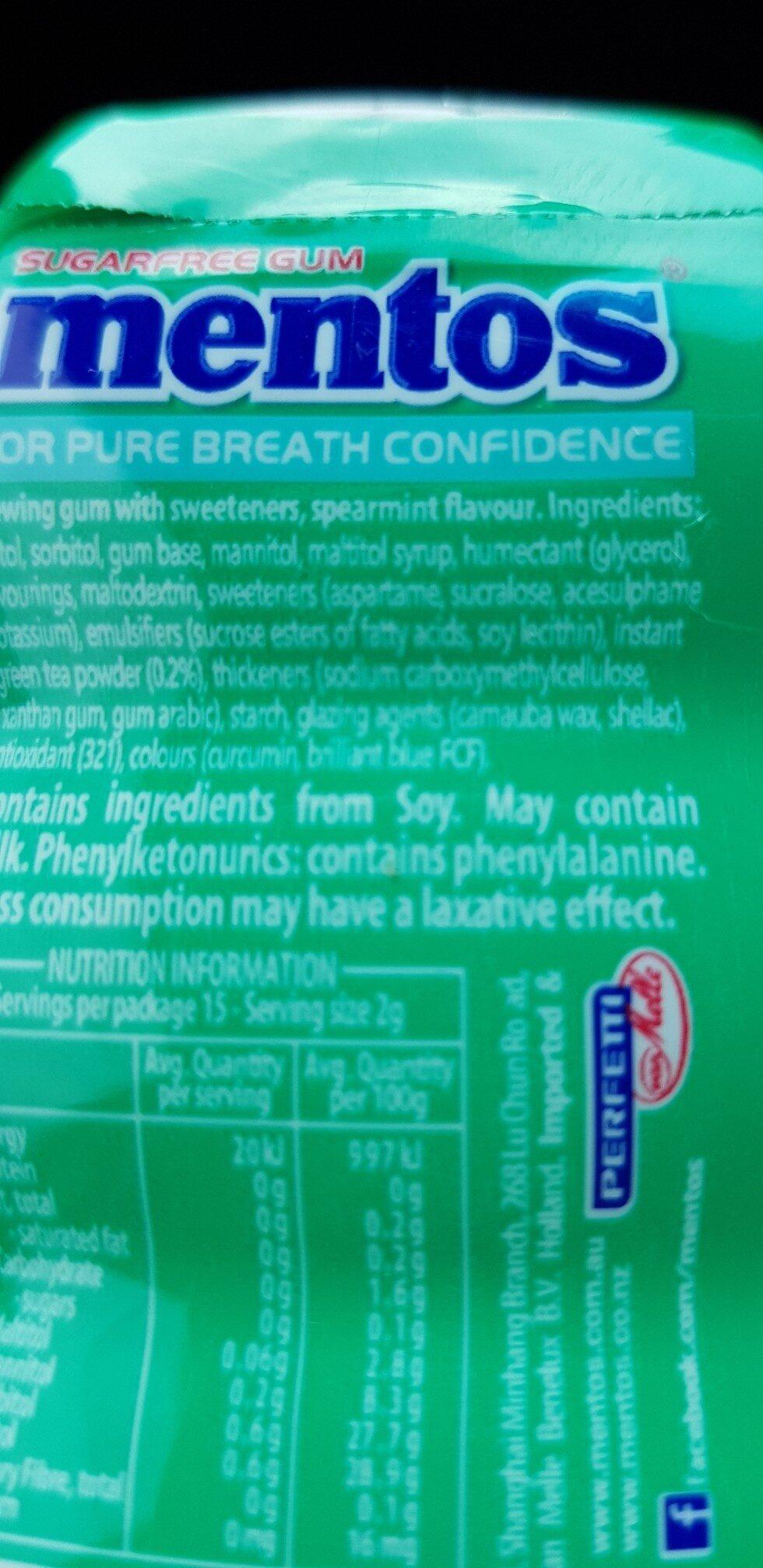 mentos spearmint gum - Ingredients - en