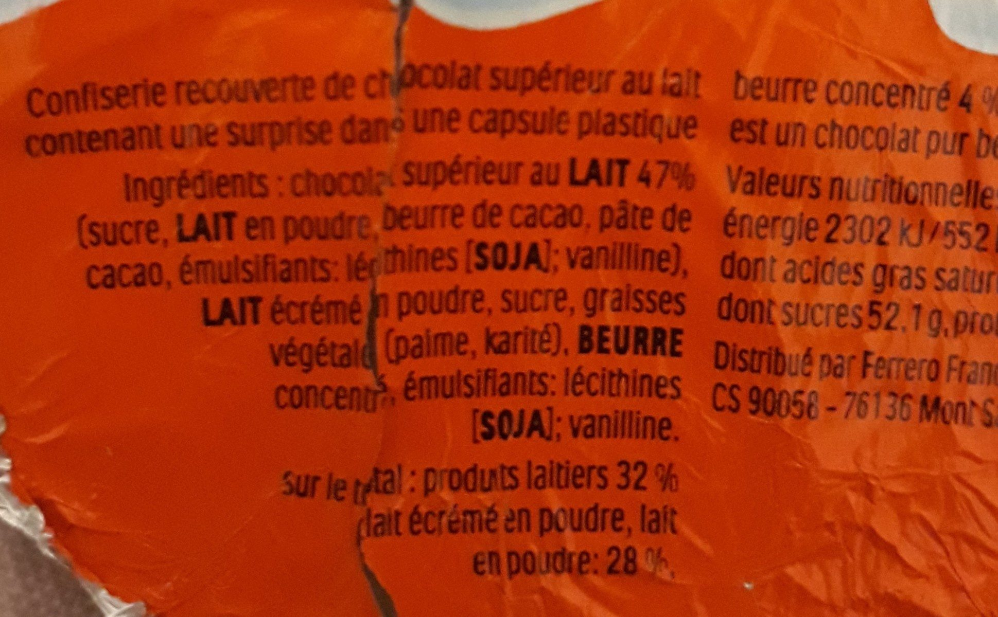Oeuf Kinder Surprise - Ingrédients - fr