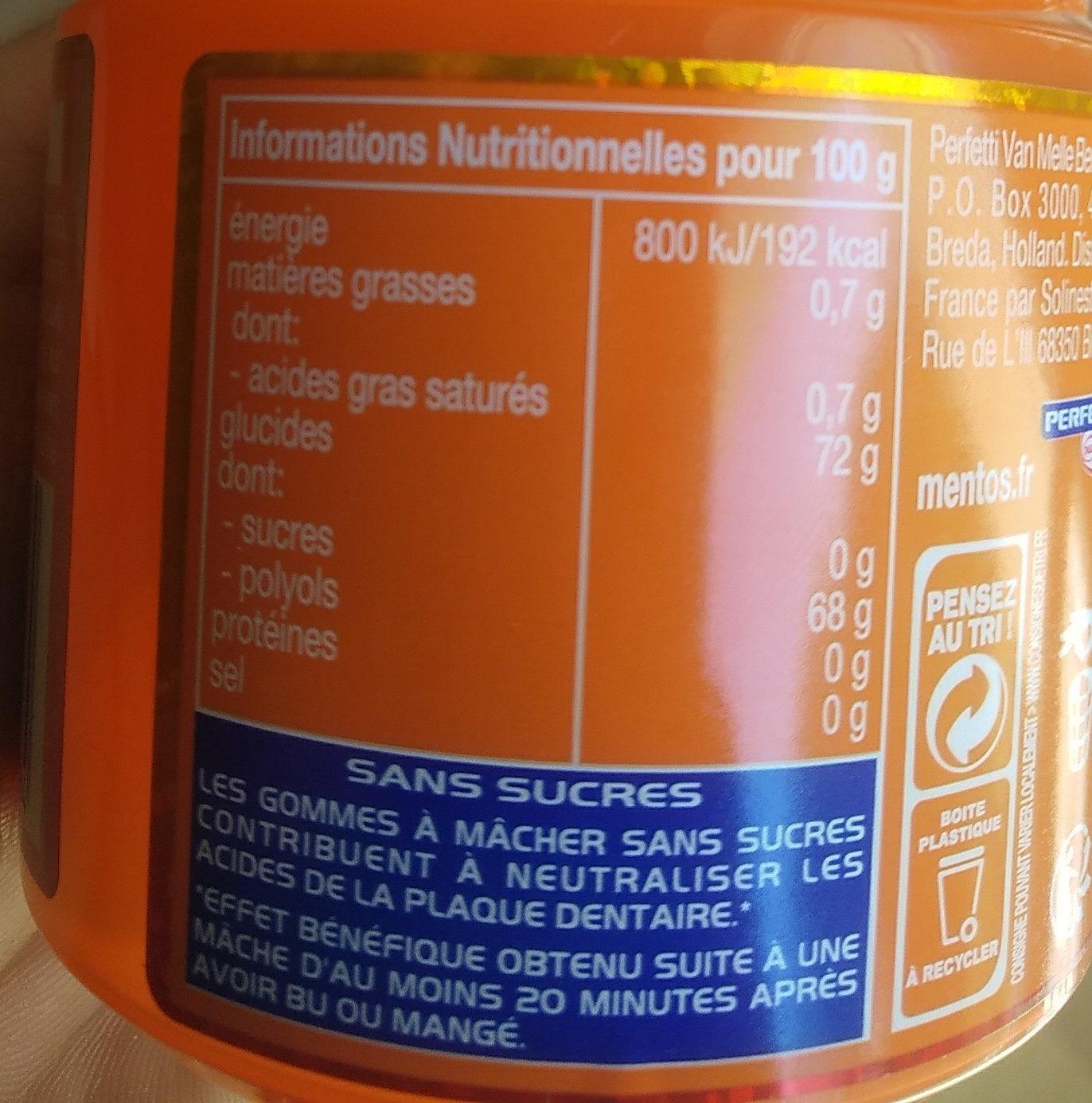 Mentos pure Mentos dans des mentos au pétrole - Informations nutritionnelles - fr